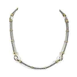 Lagos Sterling Silver 18K Yellow Gold Caviar Circle Game Necklace