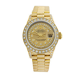 Rolex Ladies Datejust 69178 Champagne Diamond Dial and Bezel 26mm Womens Watch