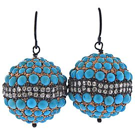 Rose Cut Diamond Turquoise Silver Gold Earrings