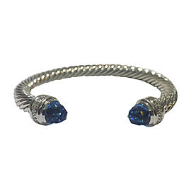 David Yurman Cable Classics Sterling Silver with Blue Topaz & 0.48ct Diamonds Bracelet