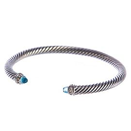 David Yurman Cable Classics Sterling Silver with Blue Topaz and 0.07ct Diamonds Bracelet