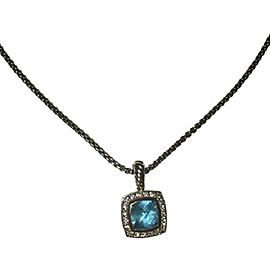 David Yurman Petite Albion Sterling Silver with Blue Topaz and 0.17ct Diamond Necklace