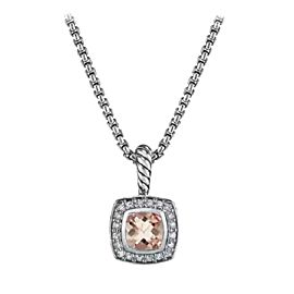 David Yurman Petite Albion Sterling Silver with Morganite and 0.17ct Diamond Necklace