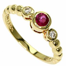 MIKIMOTO 18K Yellow Gold Ruby Diamond Ring