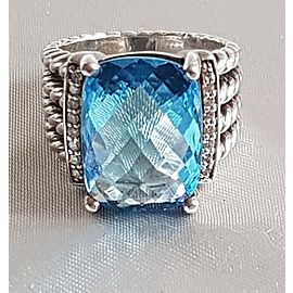David Yurman Wheaton 16x12 Blue Topaz Diamond Ring