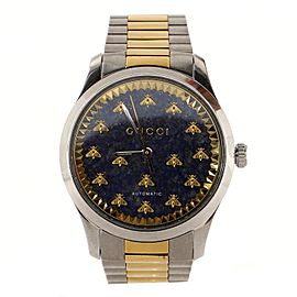 Gucci G-Timeless Bee Automatic Watch Stainless Steel and Yellow Gold PVD with Lapiz 38