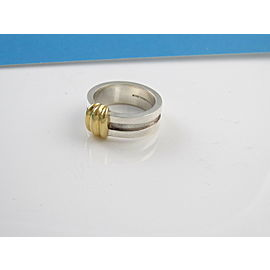 Tiffany & Co Silver 18K Yellow Gold RARE Atlas Ring NST-897