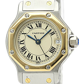 CARTIER Santos Octagon 18K Gold Steel Quartz Ladies Watch