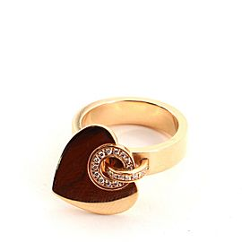 Bvlgari Cuore Charm Ring 18K Rose Gold and Diamonds