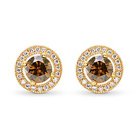 Leibish 18K Rose Gold Fancy Deep Orange Brown Round Diamond Halo Earrings