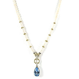 Lagos Sterling Silver 18K Yellow Gold .28tcw Glacier Delta Blue Topaz Diamond Teardrop Pearl Toggle Necklace