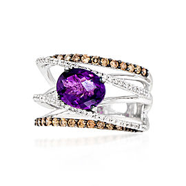 Le Vian Certified Pre-Owned Grape Amethyst and Chocolate & Vanilla Diamonds Ring set in 14k Vanilla Gold