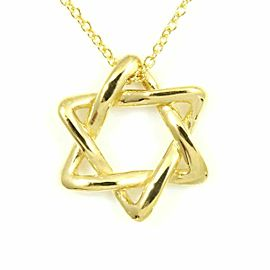 Tiffany & Co. 18K Yellow Gold Star of David Necklace Pendant CHAT-26