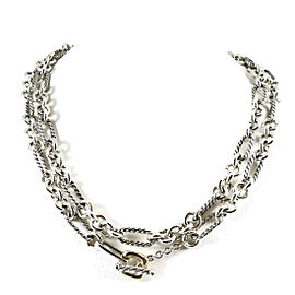 "David Yurman Sterling Silver 18K Yellow Gold 33"" Figaro Chain Toggle Necklace with 18K Donut"