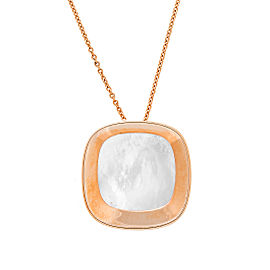 Roberto Coin 18K Rose Gold Mother of Pearl Square Bowl Shaped Pendant Necklace