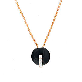 Roberto Coin 18K Rose Gold 0.08ct Diamond & Black Jade Necklace