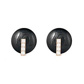 Roberto Coin 18K Rose Gold 0.16ct Diamond & Black Jade Disk Earrings