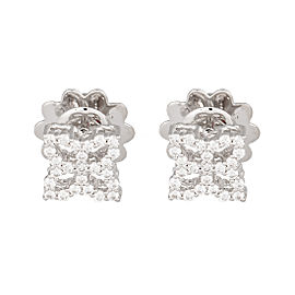 Roberto Coin 18K White Gold 0.32ct Diamond Hollow Princess Flower Stud Earrings