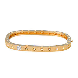 Roberto Coin Pois Moi 18K Yellow Gold 0.07ct Diamond Single Row and Satin  Square Set d306b12bd2e