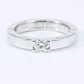 CARTIER 18K white Gold Diamond Lanieres Solitaire Ring CHAT-135
