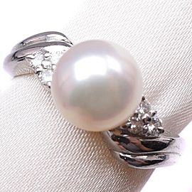 Platinum/Pearl diamond Ring NST-380