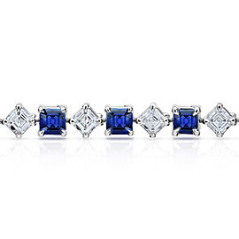 Platinum 7.69ctw. Sapphire 6.31ctw. Diamond Bracelet