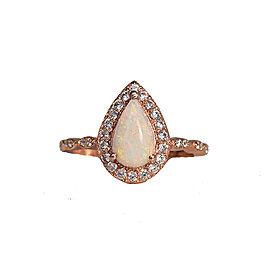 Natural Australian Opal Pear Halo Diamond Engagement Ring