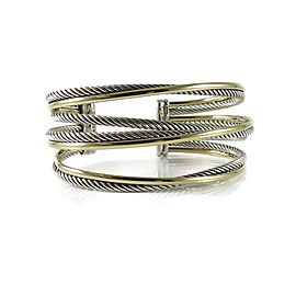 David Yurman Sterling Silver and 18K Yellow Gold 4-Row Crossover Cuff Bracelet