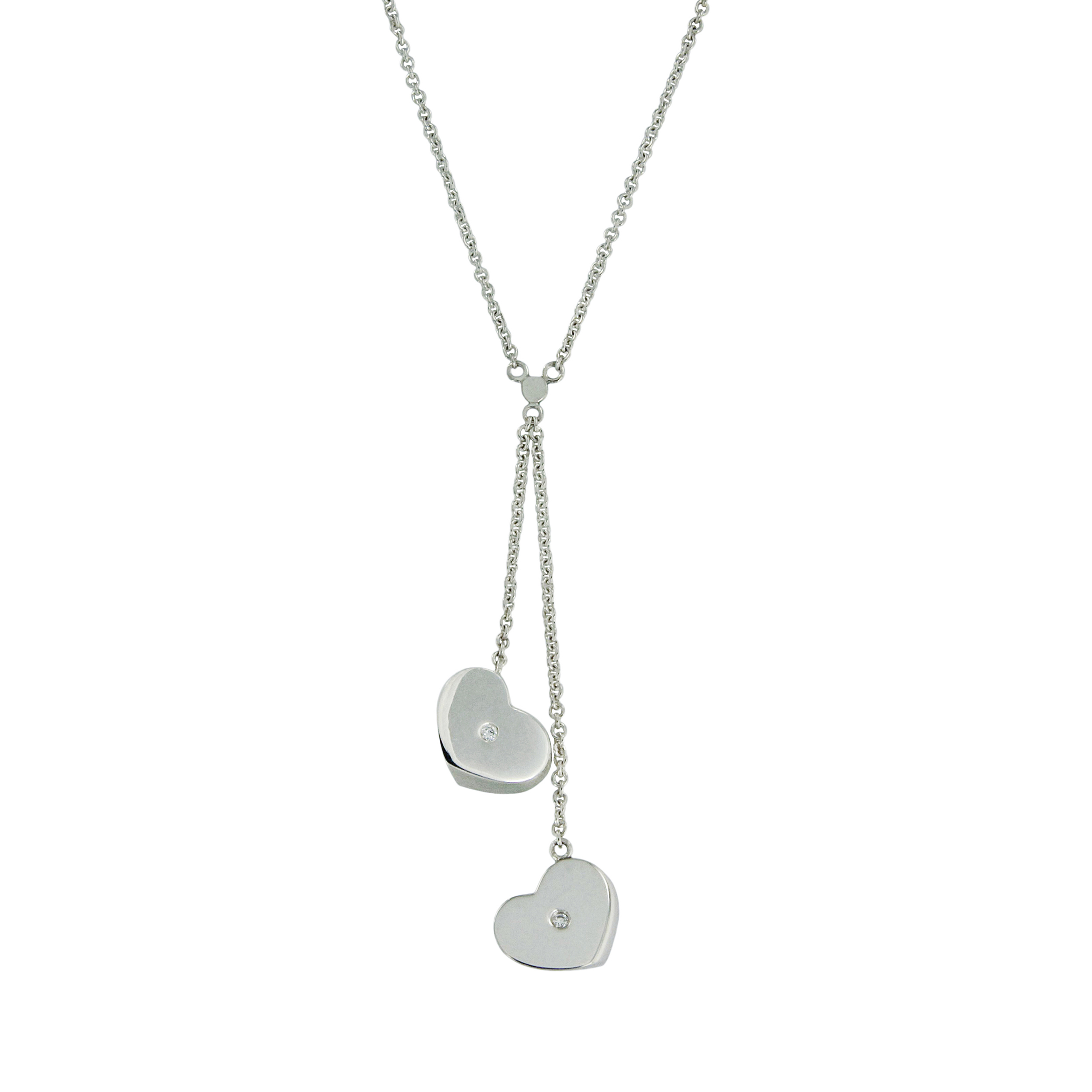 Tiffany Co Paloma Picasso Sterling Silver With Diamonds Modern Double Heart Drop Pendant Necklace Buy At Truefacet