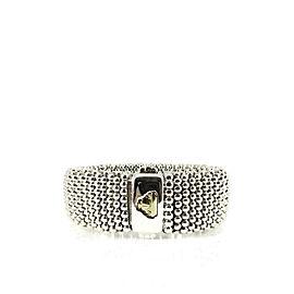 Description: Lagos Sterling Silver 18K Yellow Gold Signature Beaded Cuff Bracelet