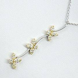 flour Floral motif Necklace K18 white gold/K18 yellow gold/diamond Women