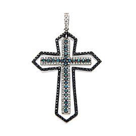 Effy 14K White Gold White Black & Green Diamonds Cross Pendant
