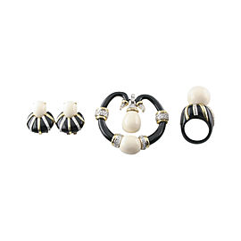 18K Yellow Gold & Black Plastic Diamond & Chalcedony Set of Ring, Earrings and Brooch