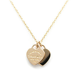 TIFFANY & Co 18K Rose Gold Double Heart Pendant Necklace