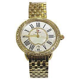 Michele Serein 16 MW21B000031 Gold Plated Stainless Steel and Diamond 34mm Quartz Women Watch