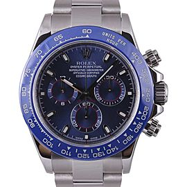 Rolex Daytona 116520 Stainless Steel Blue Arab Dial Blue Insert Chronograph 40mm Mens Watch