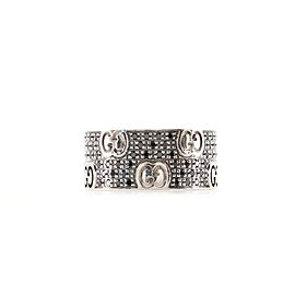 Gucci Stardust Ring 18K White Gold with Black Diamonds Wide