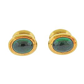 Tiffany & Co. Emerald Gold Cufflinks Stud Button Dress Set
