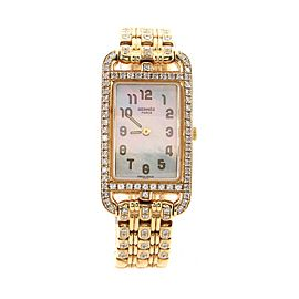 Hermes Cape Cod Nantucket Quartz Watch Yellow Gold with Diamond Bezel and Bracelet and Mother of Pearl 20