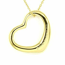 Tiffany & Co. 18K Yellow Gold Open Heart Necklace Pendant CHAT-195