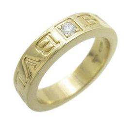 Bulgari 18K Yellow Gold with Diamond Double Logo Ring Size 3