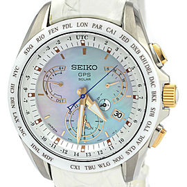 Polished SEIKO Astron SBXB063 Dual Time Solar Mens Watch 8X53-0AJ