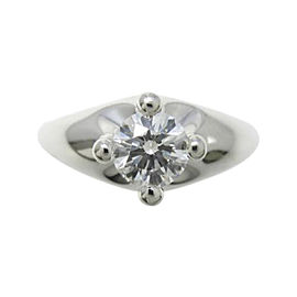 Bulgari 950 Platinum 0.43ct. Diamond Corona Ring Size 4.25