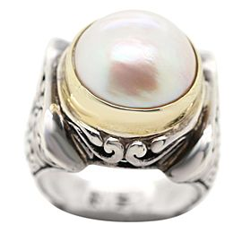 Sterling Silver with Gold and Center Pearl Ring
