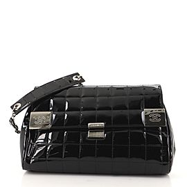 Chanel Chocolate Bar Chain Flap Bag Quilted Patent Medium