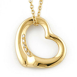 TIFFANY&Co. 18K yellow Gold Diamond Open heart Necklace CHAT-346