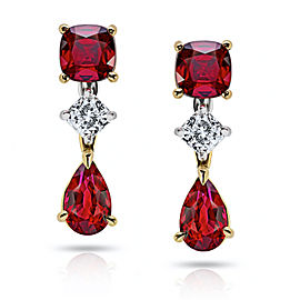 Platinum 18K Yellow Gold 2.15ctw. Ruby 0.26ctw. Diamond Earrings