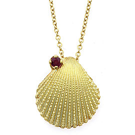 TIFFANY & Co. 18K Yellow Gold Ruby Shell Necklace CHAT-929