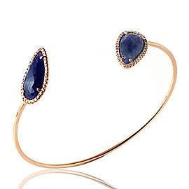 14K Rose Gold Sliced 8.7ct Blue Sapphire and 0.36ct Diamonds Bracelet