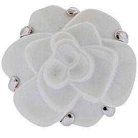 Chanel Camellia White Ceramic Gold Flower Ring